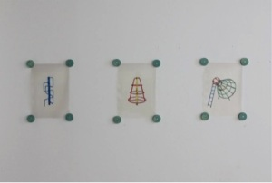 Shaun C Badham - Only a partially blind man would be hyper sensitive to 1970s children climbing frames, 2014, 29 x 21cm, five acetate prints with circular wooden wall attachments