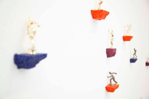 Helen Grant -  Social Climbers, 2014, dimensions variable, acrylic on polystyrene with plastic figures